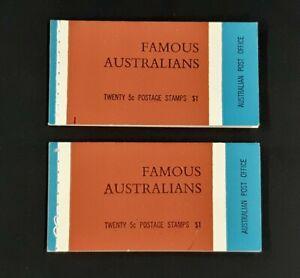 Two c.1968 FAMOUS AUSTRALIANS $1 booklets 20x 5c stamps Caroline Chisolm