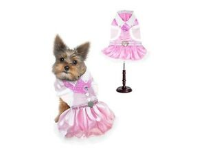 Soft Pink & White Cowgirl Dog Costume Vest Skirt Bandana Set Heart Shaped Trim