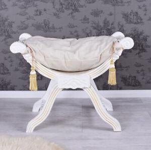 Gondola Louis XV Baroque Stool White Sitting Stool Bench