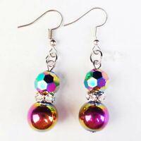 Rainbow Faceted Titanium Crystal Agate Hematite Rhinestone Ball Earrings A81690