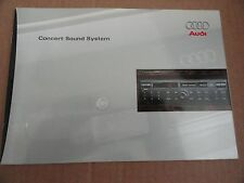 1998 1999 Audi Concert Sound System Radio Stereo Owners Manual SUPPLEMENT