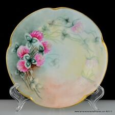 """1907 J&C Louise Bavaria Hand Painted 7"""" Plate Red Clovers Signed E Lou Staples"""