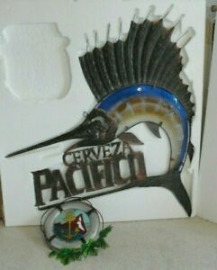 PACIFICO BEER RARE STAINED GLASS METAL 🔥 SAILFISH MARLIN SIGN NEW BAR MANCAVE