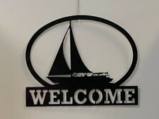 "Sailboat Welcome Sign Metal Art 16"" X 13"" Ocean Decor"