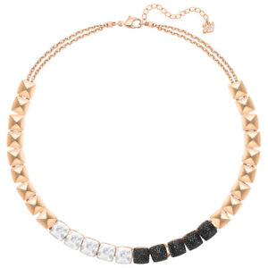 NWT SWAROVSKI Glance Necklace Multicolored Clear Black Rose Gold Plating 5272069