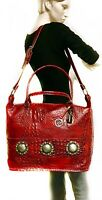 Raviani Western Overnight Bag In Red Embossed Crocodile Leather W/Silver Concho