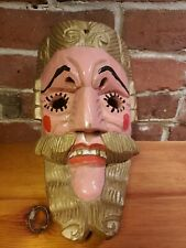 """10"""" Hand Carved Wooden Painted South American Mask Bearded Mans Face Art"""