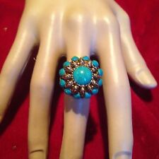WOMEN COCKTAIL RING TURQUOISE RING SIZE 6.5 FILIGREE SETTING ACTII