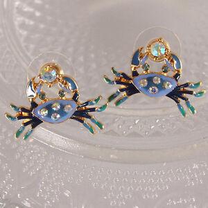 New Women Fashion Cute Little Crab Blue Enamel Crystal Cute Ear Stud Earrings