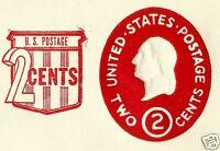 USA, EMBOSSED STAMPED ENVELOPE, WASHINGTON, 2 CENTS, REVALUED 2 CENT, RED, 1953