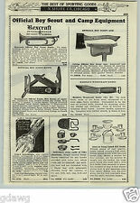 1933 PAPER AD Rexcraft Official Boy Scout Bugle Marble's Woodcraft Hunting Knife
