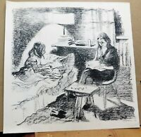 VIntage pencil signed 1964 lithograph, mystery artist, 18 x 18