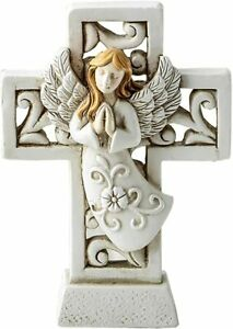 Religious Cross statue with Raised Ivory Praying Angel Figures Ornament UK Stock