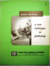 ACME STEEL Products Catalog ASBESTOS Sheet Fabric Stitching Furnace Use 1950's