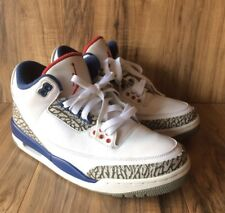 "RARE🔥Nike Air Jordan 3 Retro OG ""True Blue"" White/Fire Red 854262-106 Men's SZ8"