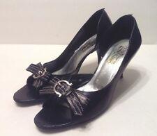 Salvatore Ferragamo Women's Black Leather Heels Size 38 Peep Toe White Stitch