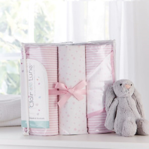 CLAIR DE LUNE STARS AND STRIPES 3 PIECE MOSES BEDDING SHEETS & BLANKET SET PINK