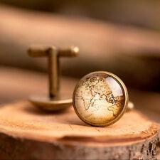 Vintage map handmade cufflinks, men brass cufflinks, men accessories, men gift