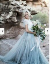 Fairy Boho Wedding Dress With Smoky Blue Skirt Size 10 with Removable Lace Shawl