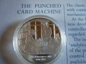 PUNCHED-CARD MACHINE MANKIND INVENTIONS HALLMARKED SILVER PROOF MEDAL BY PINCHES