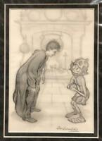 Original Harry Potter and Dobby pencil drawing by Giles Greenfield