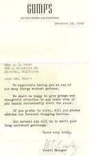 Signed Nov 12, 1942 Gump's Store, San Francisco, Calif Letter w/Env, Credit Acct