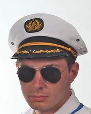 Unisex White Adult Yacht Boat Captain Navy Sailor Hat Fancy Dress Round Symbol