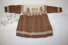 Robe hiver bébé fille tricoté fait main Beige Et Marron 6 Mois