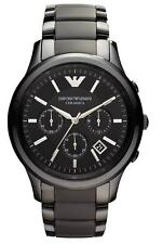 EMPORIO ARMANI AR1452 Black Matte CERAMICA Mens Chronograph Watch NEW AUTH w/BOX