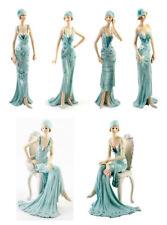 Art Deco Broadway Belles Lady Figurine Gift Ornament Blue Vintage Ladies Statue