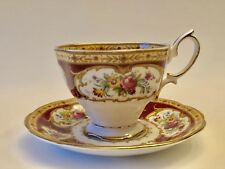 Royal Albert Bone China Lady Hamilton Red Gold Floral Pattern Tea Cup & Saucer