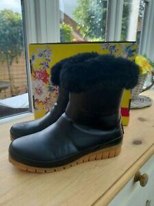 Joules Black Chilton Fur Cuff Short Wellies Boots Size UK 4