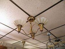 Mid Century Modern Gerald Thurston Lightolier Ceiling Fixture Glass/Brass  Multi
