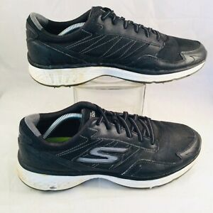 Skechers Mens Go Golf Fairway Black White Leather Sneakers Shoes US 11