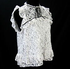 Topshop Top Shop Lace Blouse Size 10 EUR 42 UK 14 Black Trim Lined Cream Ivory