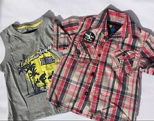 boys 2 piece Grey Vest Top & Check Short with Surfing detail age 2-3 years