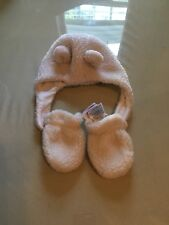Baby Gap Bear  Ivory Frost Hat-and Mittens Set Infant Fuzzy Fleece