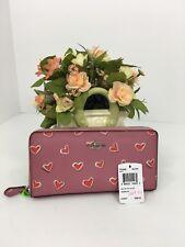 Coach Wallet Pink Accordion Red Heart Print Zip F53885 W44