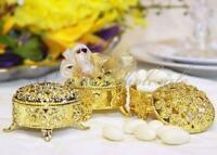 2.5 Inch Plastic Trinket Box Wedding Favor Table decorations-Gold (12 Sets)