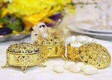2.5 Inch Plastic Trinket Box Wedding Favor Table decorations-Gold (12 Pieces)