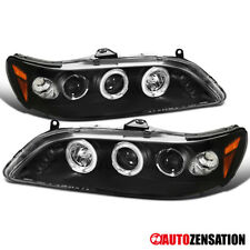 For 1998-2002 Honda Accord 2Dr Black Clear LED DRL Halo Projector Headlights