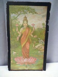 "Vintage Cigarette Cards Crown Tobacco Co Bombay Lakshmi Ravi Varma Lithograph ""2"