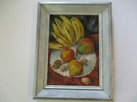 FREDERICK BUCHHOLZ OIL PAINTING MID CENTURY MODERN FRUIT BANANA AMERICAN LISTED