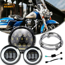 "7"" 75W LED Daymaker Headlight Passings Lights Harley Davidson Touring Road King"