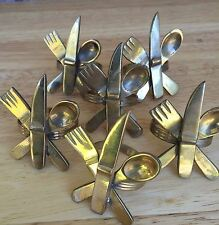 *6* Napkin Rings Set  Brass Spoon Knife Fork Crossed Utensils Mid Century Modern