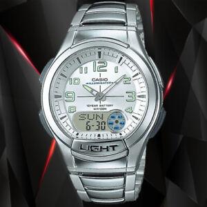 Casio AQ-180WD-7BV Mens Analog Digital Sports Databank Watch LED World Time New