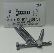 #10-24x1-3/4 Indented Hex Head Machine Screws Steel Zinc Plated (50)