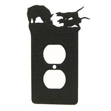 Wild Hog Doggin' Black Metal Power Outlet Plate Cover