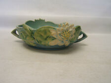 Roseville 440-8 Waterlily Bowl Blue w green interior