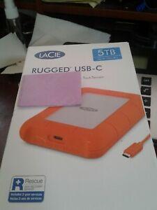 LaCie Seagate STFR5000800 Rugged USB-C Portable Drive 5 TB Hard Drive - Orange